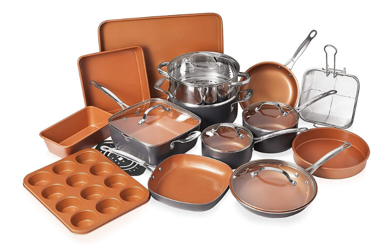 Gotham Steel Cookware + Bakeware Set with Nonstick Durable Ceramic Copper Coating